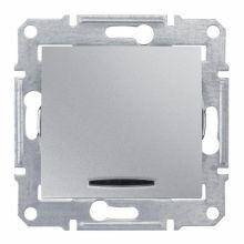 Выключатель Sedna кнопочный, с подсветкой, алюминий Schneider Electric