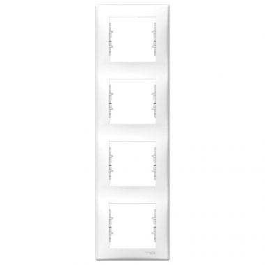 Рамка Sedna 4-постовая, вертикальная, белый Schneider Electric
