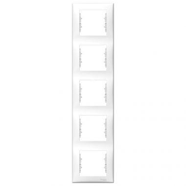 Рамка Sedna 5-постовая, вертикальная, белый Schneider Electric