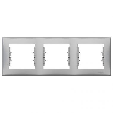 Рамка Sedna 3-постовая, горизонтальная, алюминий Schneider Electric