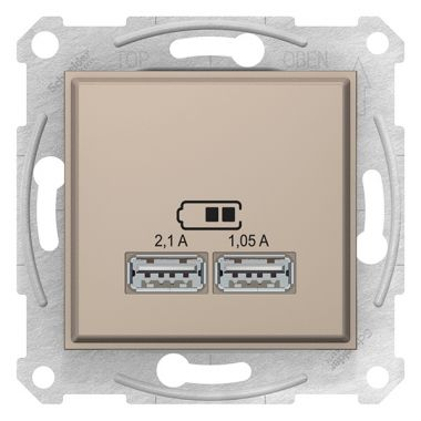 Зарядное устройство Sedna тип А USB 2,1А (2x1,05А) титан Schneider Electric