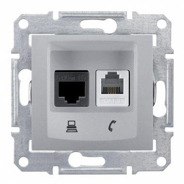 Розетка Sedna 2я, информационная RJ11+RJ45, UTP кат.6, алюминий Schneider Electric