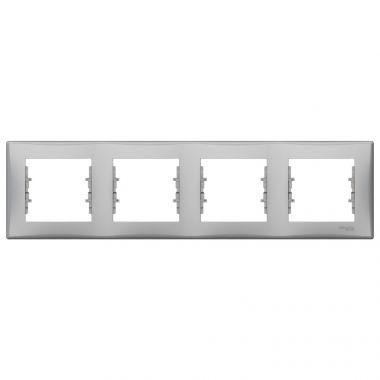 Рамка Sedna 4-постовая, горизонтальная, алюминий Schneider Electric