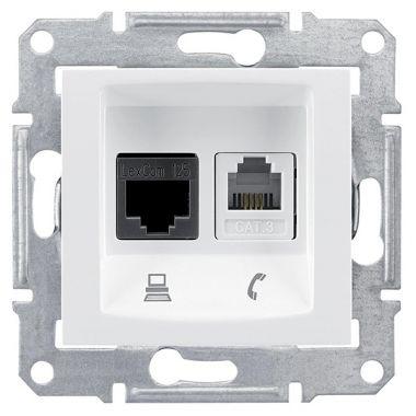 Розетка Sedna 2я, информационная RJ11+RJ45, UTP кат.6, белый Schneider Electric