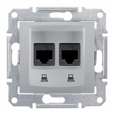 Розетка Sedna 2я компьютерная 2xRJ45, UTP кат.5е, алюминий Schneider Electric