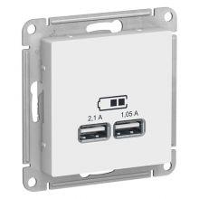 Розетка AtlasDesign USB, 5В, 1 порт 2,1А, 2 порт 1,05А, белый Schneider Electric