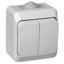 Выключатель Этюд 2-клавишный, IP44, серый Schneider Electric