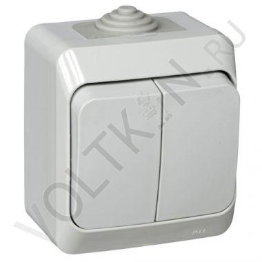 Выключатель Этюд IP44, 2-клавишный, серый Schneider Electric