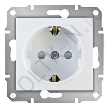 Розетка Sedna с заземлением, с защитными шторками, белый Schneider Electric