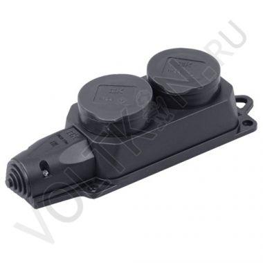 Розетка 2-я РБ32-1-0м с защитными крышками, каучук 2P+E 16А IP44 Омега IEK
