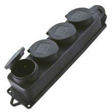 Розетка 4-я с защитными крышками, каучук 2P+PE 16А 250В IP44 TDM