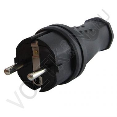 Вилка прямая, каучук 2P+PE 16А 250В IP44 Народная TDM