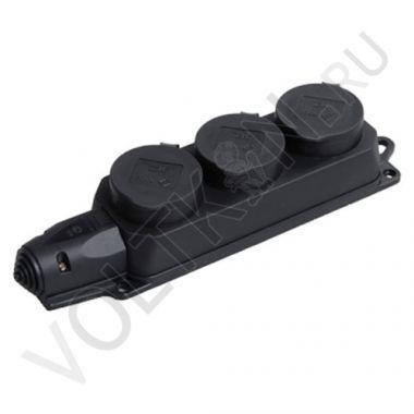 Розетка 3-я РБ33-1-0м с защитными крышками, каучук 2P+E 16А IP44 Омега IEK
